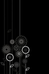 Black Cartoon Flowers And Lines Android Wallpaper